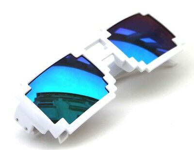 Men's Womens 8 Bit Tetris Pixel White Sunglasses Rectangle Novelty Blue Green  - 8 Bit Sunglasses