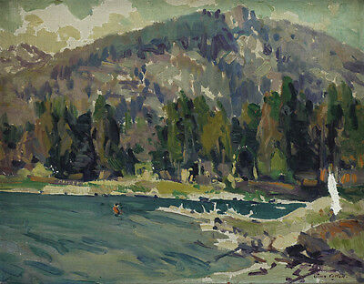 John Wesley Cotton  Canadian  1860   1931  Oil Painting Summer At Lake