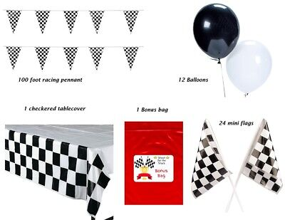 Race Decorations Racing Party Pack Pennant Flags Balloons Tablecover Nascar - Racing Party Decorations