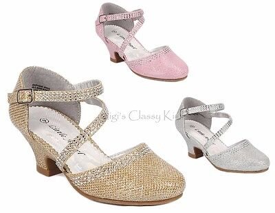 New Girls Dress Shoes Silver Pink Glitter Wedding Party Pageant Heels Kids Youth (Girls Pink Pageant Shoes)