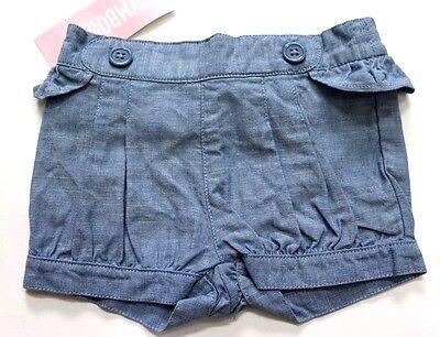 Girls Chambray Shorts (Gymboree Girls' Chambray Bubble Ruffle Shorts Blue Size 3-6M)