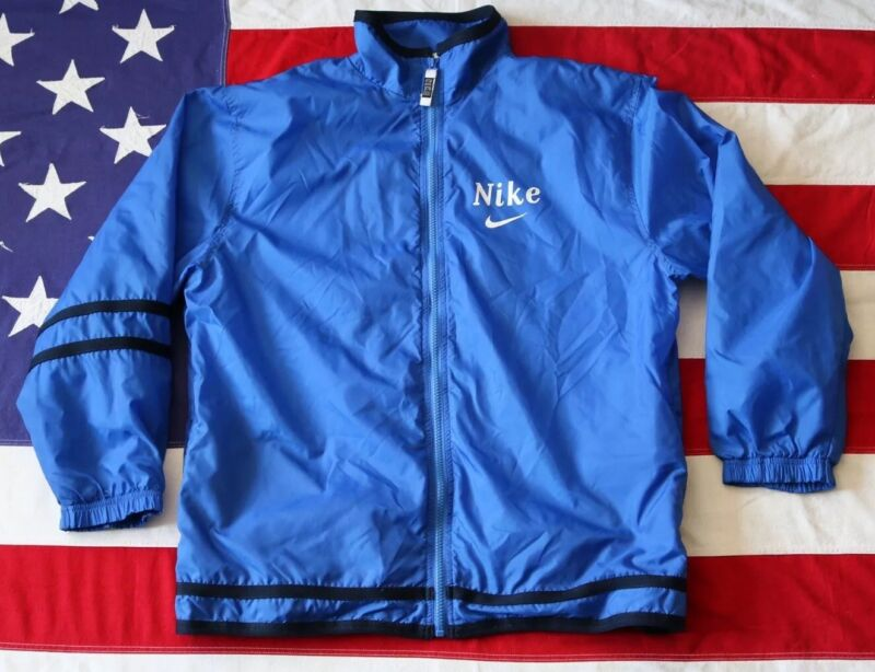 VINTAGE 90s NIKE WINDBREAKER JACKET BLUE WHITE YOUTH BOYS XL 18-20 WHITE TAG