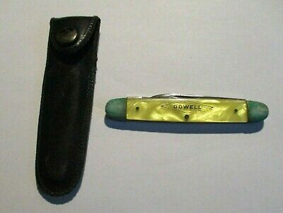 Vintage Advertising Folding Pocket Knife Dowell Keen Kutter Marbled Yellow Case