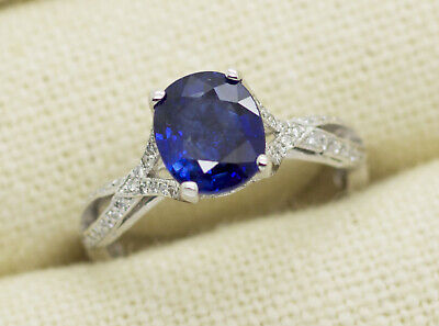 GIA Certified Tacori Platinum 2.94ct Sapphire & Diamond Ring Size 8.5 Tacori Sapphire Ring