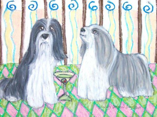 "Bearded Collie ""Drinking a Martini"" - 11x14 Dog Art Print - Artist KSams Signed"