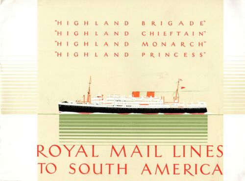 1950s Royal Mail Line HIGHLAND Class Deluxe Interiors Brochure w/ Color Photos