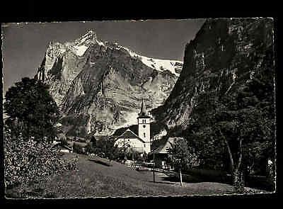Grindelwald Schweiz Bern ~1950 Kirche Wetterhorn Berge Gebirge Landschaft Dorf