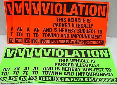 50 Violation Parked illegally Towing Impoundment Warning Sign No Parking Sticker