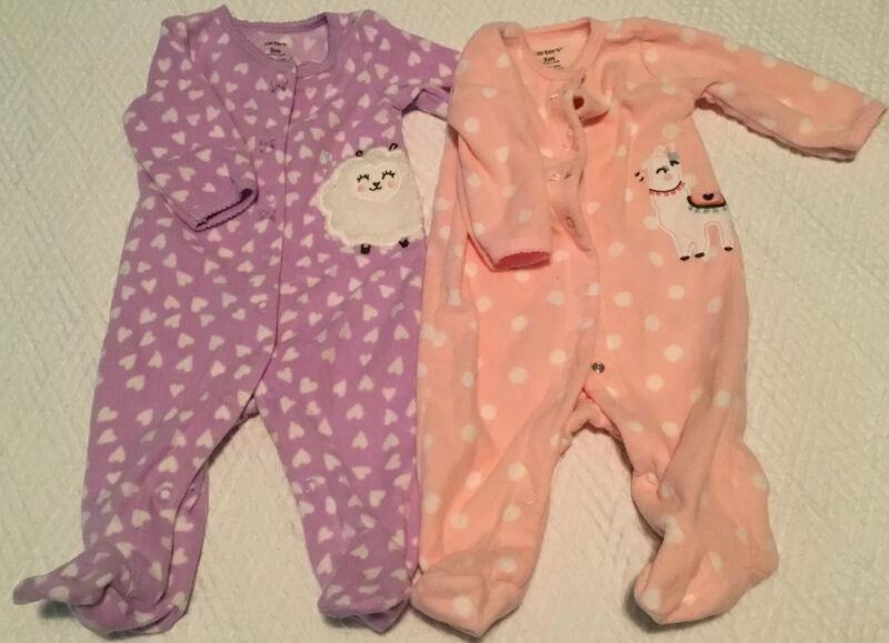 Very Soft Baby girl sleepers pink w/llama & lavendar w/sheep 3m
