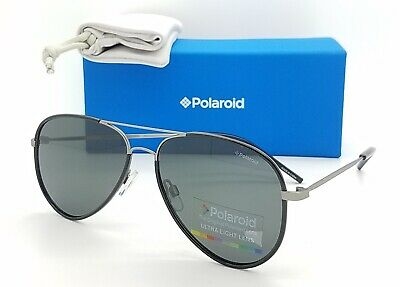 NEW Polaroid sunglasses PLD1020/S R80 56mm Black Gunmetal Grey AUTHENTIC (Polaroid Sunglasses Aviator)