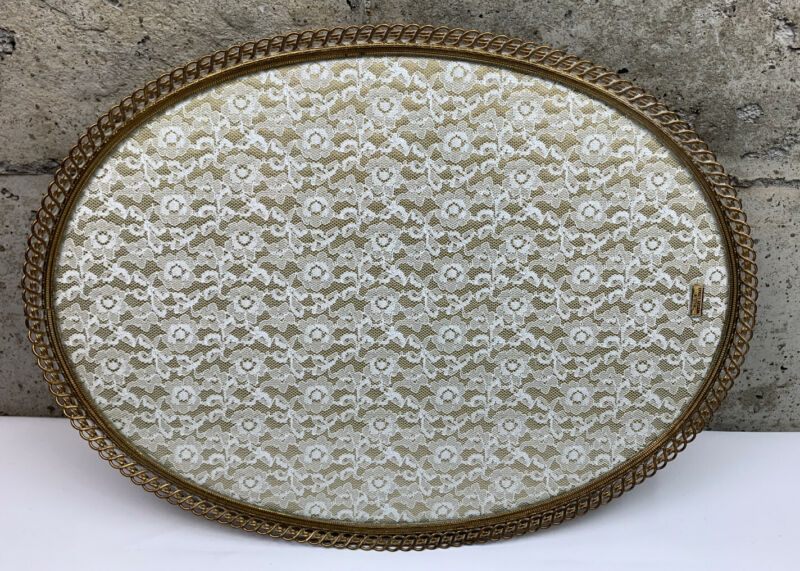 Antique Vintage Glass & Wood Serving Tray Made in Western Germany Lace Insert