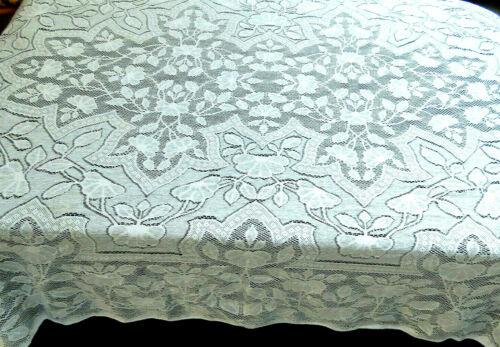 Vintage Quaker Lace Tablecloth 64 x 94 Rectangle Beige Cotton