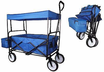 Folding Wagon Collapsible Utility Outdoor Garden Sports Beach Cart w/Canopy Blue