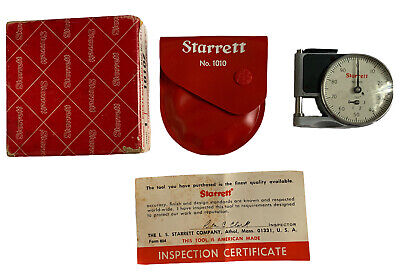 Vintage Starrett No. 1010 Dial Indicator Pocket Gage In Casemint Condition