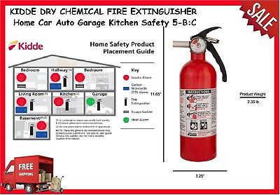 Kidde Dry Chemical Fire Extinguisher Home Car Auto Garage Kitchen Safety 5-bc