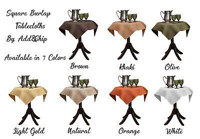 ADD&SHIP Square Burlap Tablecloth  Perfect for Elegant Parti