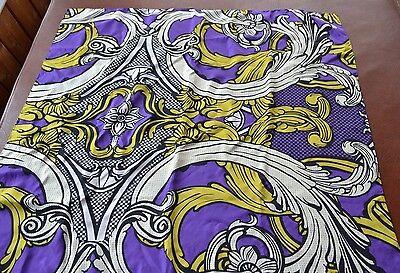 Huge signed ECHO silk scarf floral baroque design violet mustard white black