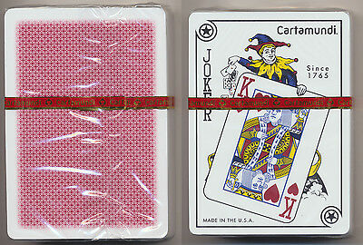 Cartamundi 100% Plastic Playing Cards 1 Red Deck Poker Size Jumbo Index *