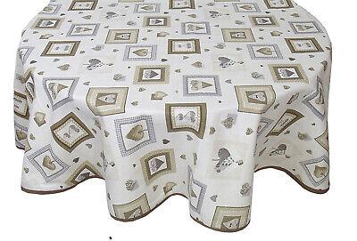 TOVAGLIA Rotonda per 8 posti in puro cotone cm 180 cuori Shabby beige