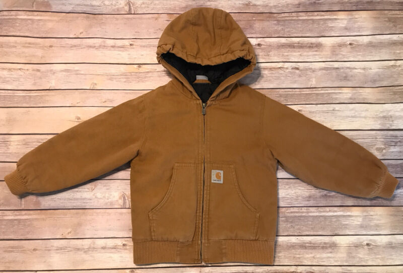 Carhartt Jacket Coat Insulated Tan Brown Full Zip Hooded Youth XS