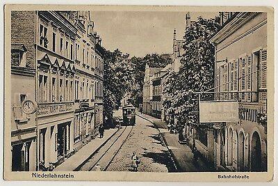 NIEDERLAHNSTEIN Straßenbahn / Hotel Strobel / Buchdruckerei Zell * AK um 1915