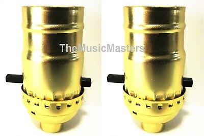 (2) Brass Plated Push-Thru Switch LAMP SOCKETS Standard Light Bulb Holder Base