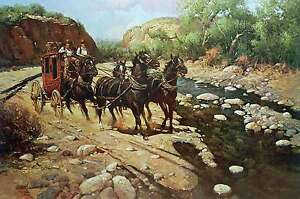 Overland Express by Robert Summers Western Cowboy Horses Stagecoach Landscape