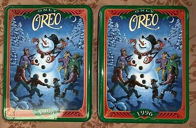 2 VINTAGE Only Oreo CHRISTMAS SNOWMAN & CHILDREN METAL Cookie TINS 1996