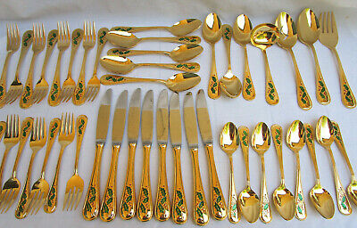 VTG 1983..44 PIECE..GOLD ELECTROPLATE..CHRISTMAS..HOLLYBERRY..FLAWARE..SET.JAPAN