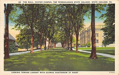State College Pennsylvania 1946 Postcard Pennsylvania State College Mall Campus