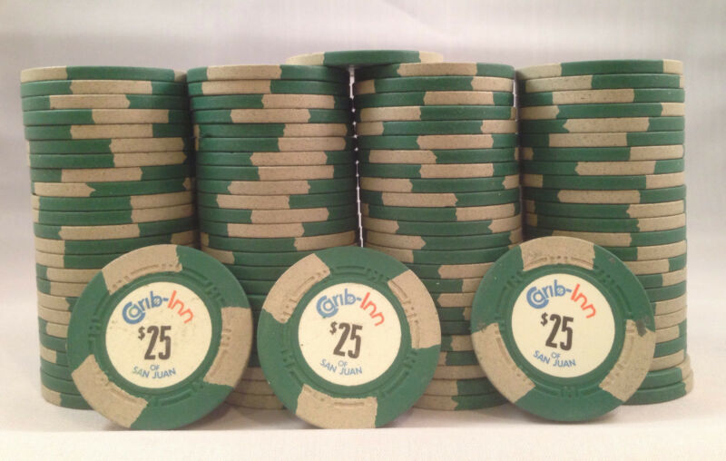 100 Carib Inn Real Casino Poker Chips Rare Mold HC Edwards San Juan PR $25 Green