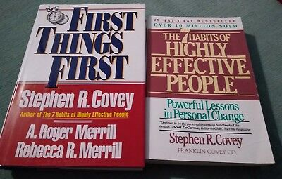 Lot 2 Stephen R. Covey Books 7 Habits Highly Effective People First Things