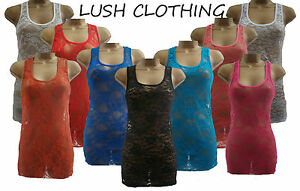 NEW-LADIES-RED-BLACK-WHITE-PEACH-RACER-BACK-LACE-VEST-TOP-SIZE-8-14-4-COLOURS