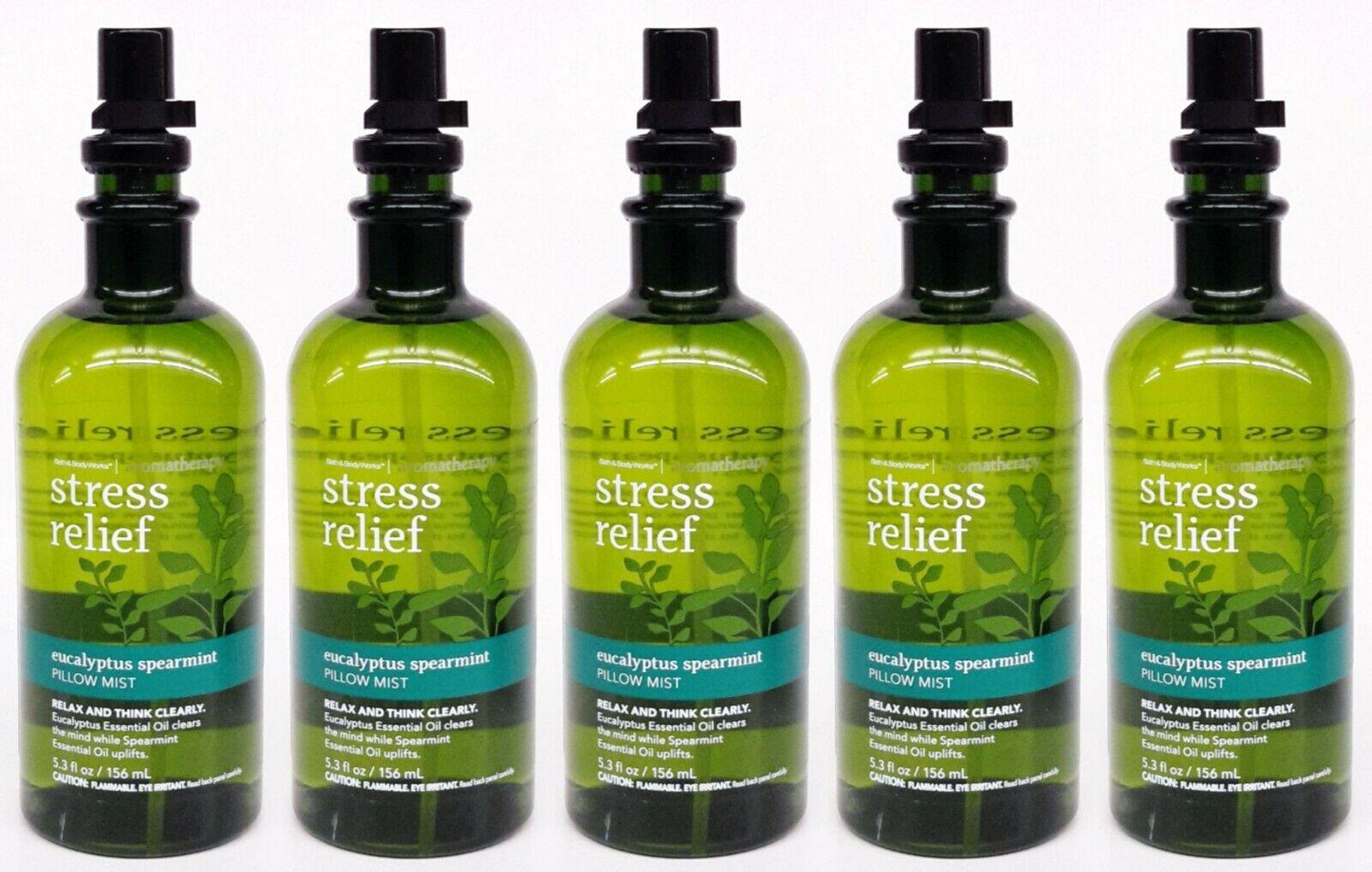 5 Bath Body Works STRESS RELIEF EUCALYPTUS SPEARMINT Pillow Mist Spray 5.3 oz