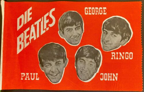 1966 Rare German Beatles Music Souvenir Flag McCartney Lennon Harrison Ringo