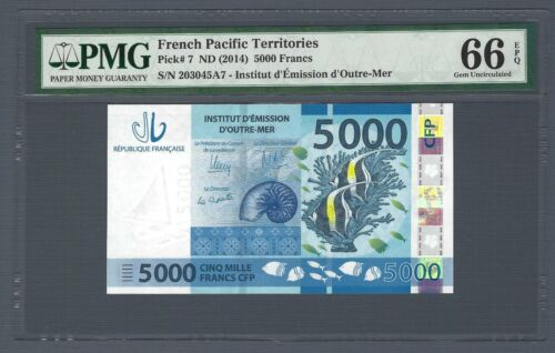 FRENCH PACIFIC TERRITORIES 5000 Francs 2014, P-7, PMG 66 EPQ, Gem UNC Pretty