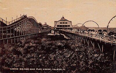 Parker House Rolls (Toledo OH Sepia Amusement Park~Roller Coaster~Casino Bridge~Play House 1909 PC)