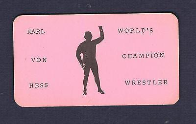 RARE WORLD CHAMPION wrestler KARL VON HESS business greeting card wrestling NJ