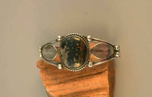 """Old Pawn Early Hanstamped Navajo Indian Bracelet - Picture Agate Stone - 6 1/2"""""""