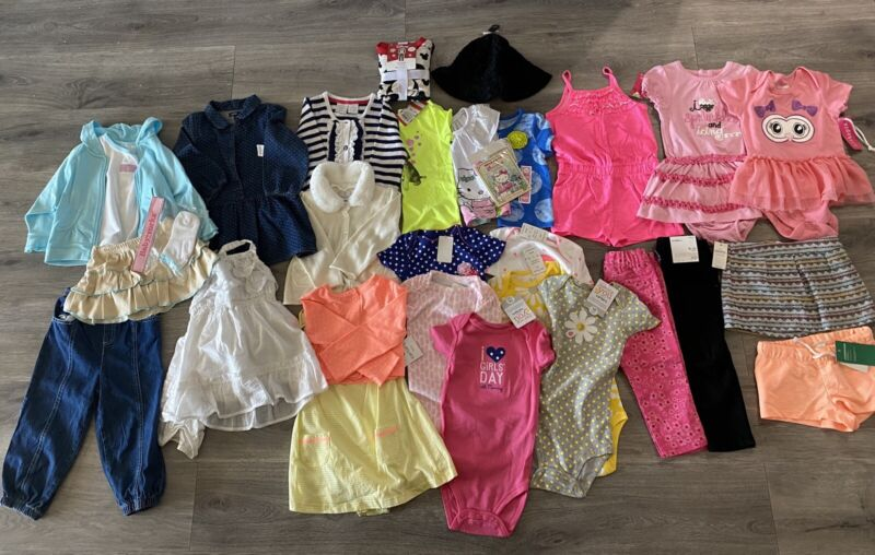 31 Pc Lot Of Brand New W/tags Baby Girls Clothes Sz 18 Months Carter's H&m Gap