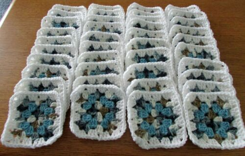 New 40 Crocheted Variegated Granny Squares 4 x 4 White Edge