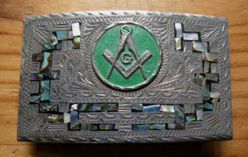 MASONIC STERLING SILVER BELT BUCKLE with ABALONE - RMG MEXICO - MASON