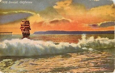 DB Postcard CA D781 Sunset California Ocean Sailing Ship Dated 1911 Wear