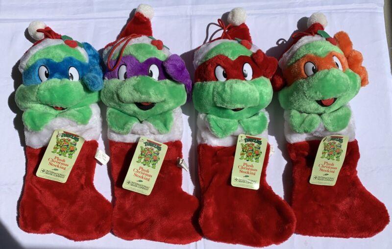 """1990 MINT Tags Vintage Teenage Mutant Ninja Turtles 16"""" Christmas Stocking Set!"""