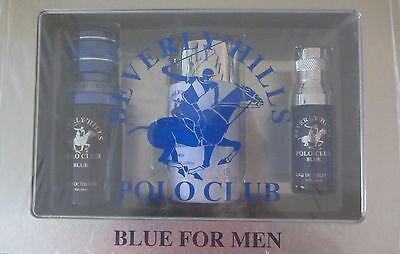 Beverly Hills Polo Club BLUE FOR MEN 3 Pc Gift Set Eau De Toilette Deodorant NEW