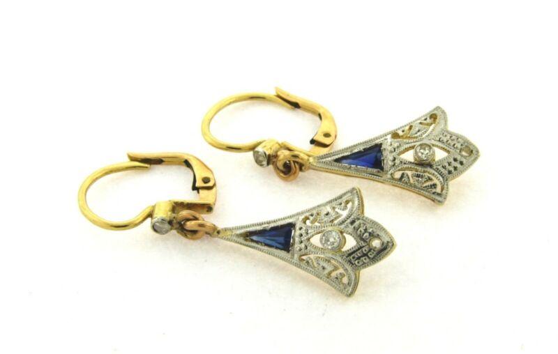Original Art Deco Diamonds Sapphires Filigree Platinum 18K Yellow Gold Earrings