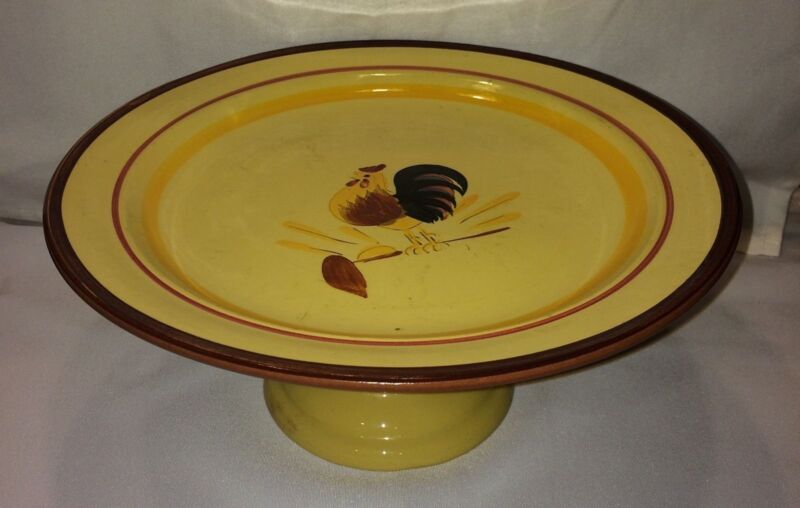 VINTAGE STANGL POTTERY ROOSTER CAKE PLATE