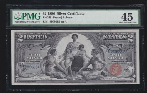 US 1896 $2 Education Silver Certificate FR 248 PMG 45 Ch XF (655)