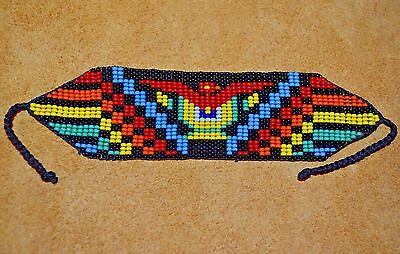 Loom Work Beaded Bracelets - Handmade Glass Seed Bead Loom Work Thunder Bird Beadwork Bracelet, Colombia