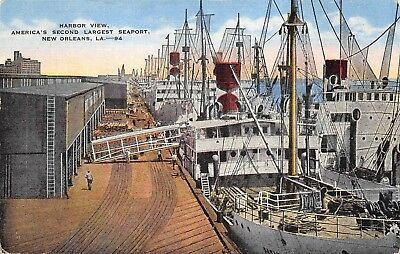 New Orleans Louisiana 1940s Postcard Harbor View Seaport Fishing Boats
